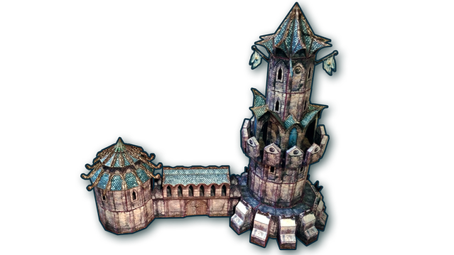 28mm Elven Papercraft Tower & Wall terrain set for RPGs by Brett