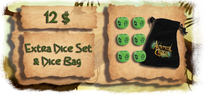 Add 12 $ to your pledge to get the dice set & dice bag.