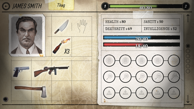 Inventory on the left. Character Sheet on the right.