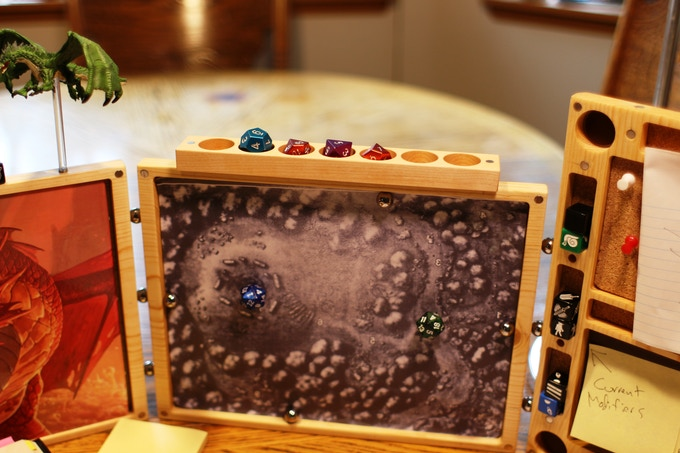 Have a Dice base One? Want one? They work with the Dice Base: Master screen to allow more dice storage and display. Don't hide your favorite dice!  Battlement Display!
