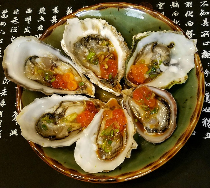 Kumamoto Oysters and Roe with Ponzu Sauce