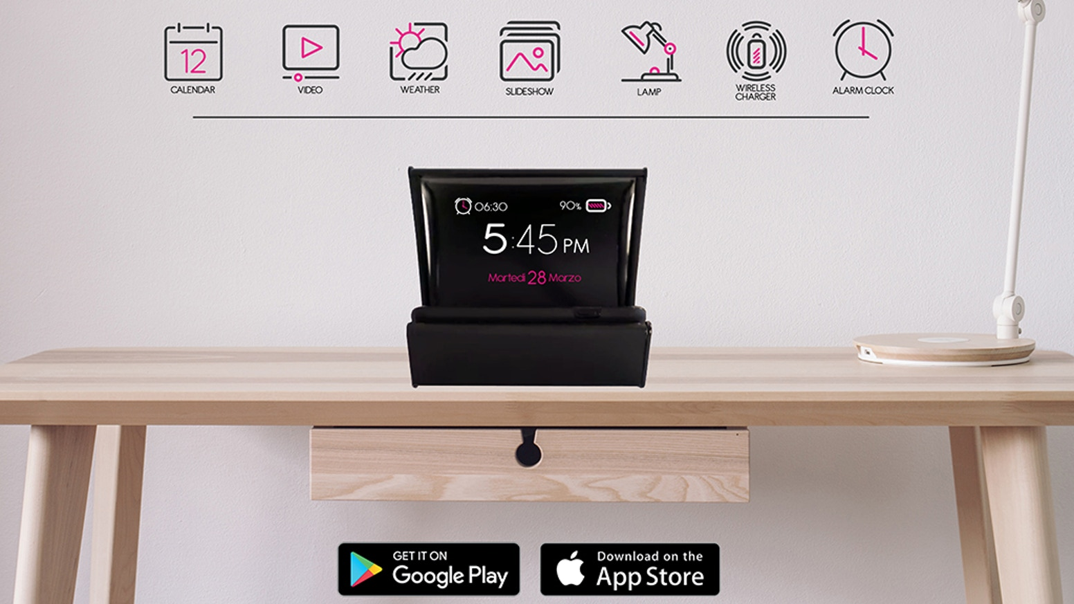 Much more than just a wireless charger for your smartphone : Alarm - Cinema - Clock - Date - Games - NiceDay - Photoslider - Weather