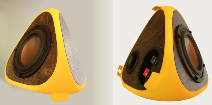 $5k stretch goal: Yellow T3TRA CLASSIC with dark stained sides. Front and bottom view.