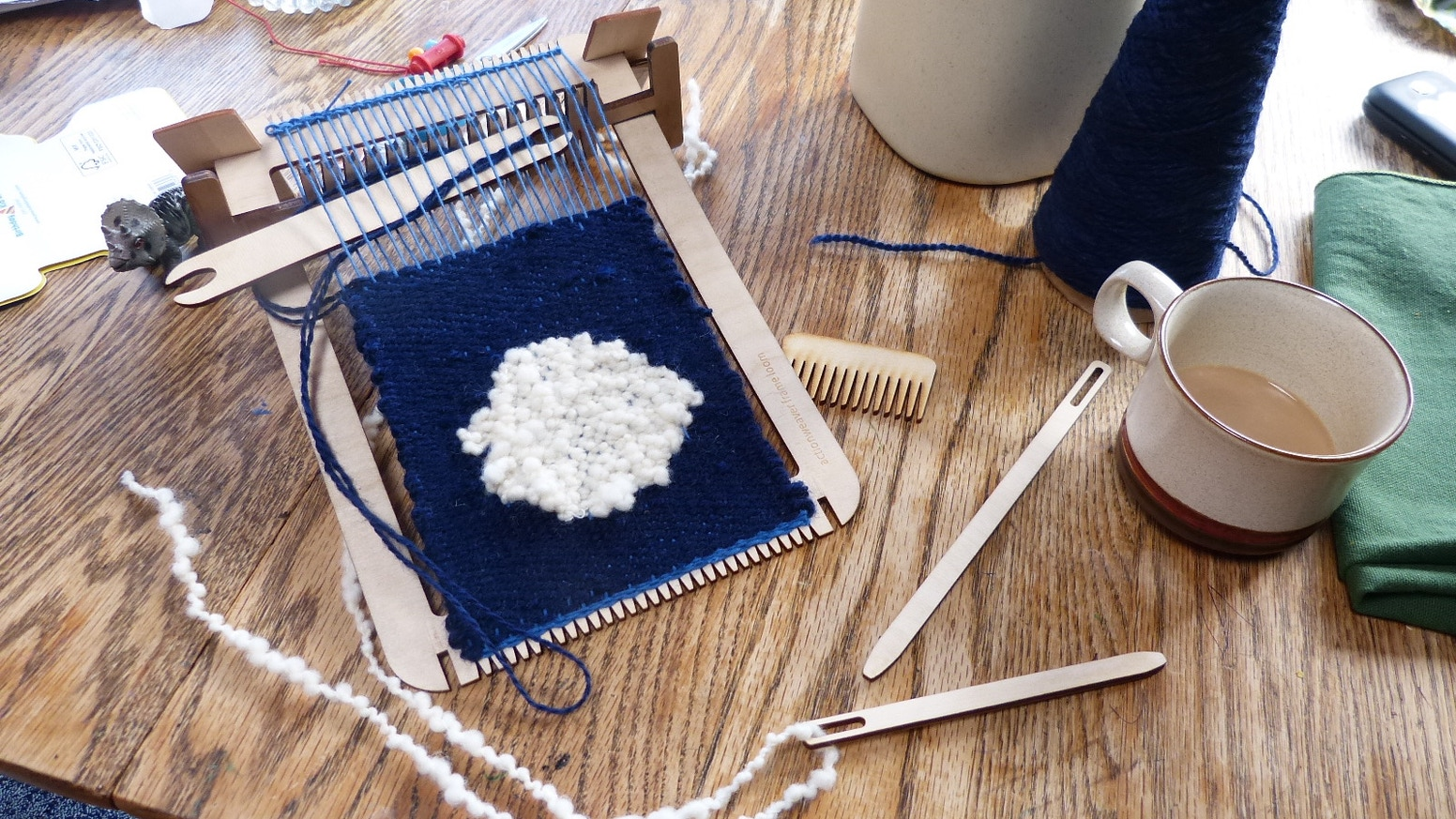 I designed this frame loom to be so easy to use, it's like a sketch pad for weaving! I'll make a weaving on it and send the kit to you! The first big push is over, now you can get a loom on my website, link below!