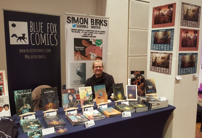 Simon at the Blue Fox Comics stand at ThoughtBubble 2016