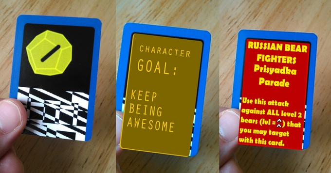GAME-ON Player Card; standard (left) and with AR assets for Lasers & Feelings AR (center) & Red Bear Scare (right).
