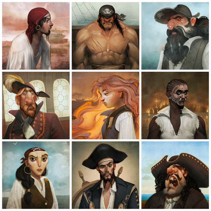 Play the game as 1 of these 9 actual pirates from history. Biographies of each pirate are in the back of the rulebook.