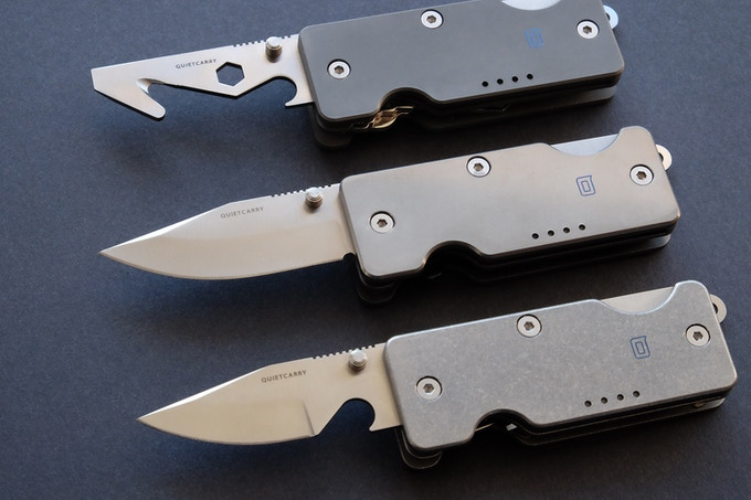 The Q 2.0 tool options from TOP: Multi-Tool, Clip Point Blade, and Bottle Opener Blade