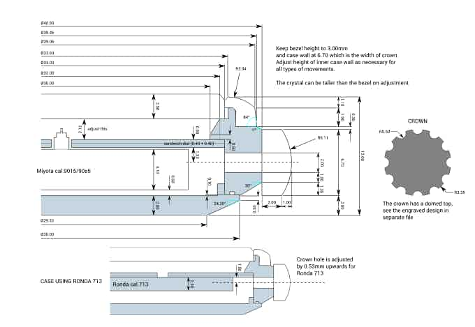 Since the Hyperion uses both quartz and automatic movements, the case needs to adapt to this specification