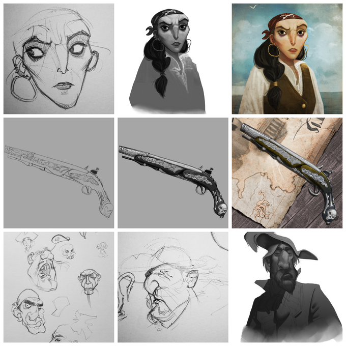 Some of Sarah's initial sketches and process for creating the beautiful illustrations in the game.