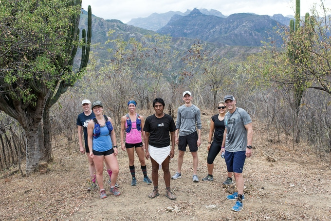 Members of the Health Warrior team on a morning run with the Tarahumara.