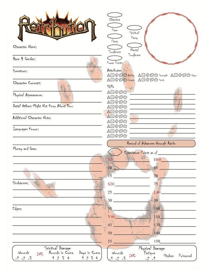 Retribution Character Sheet for Alternate Spiritual Combat Rules with a Spiritual Wound Track