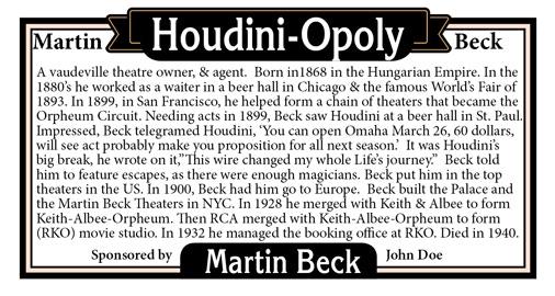 HoudiniOpoly Fun Exciting Magician Legend & Hero board game