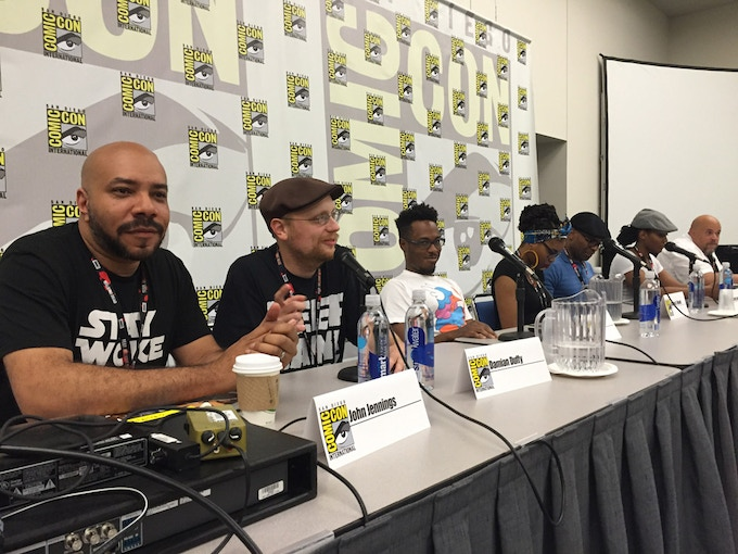 John Jennings (left) and Damian Duffy (to his right) at the San Diego Comic-Con 2016 BLACK COMIX panel