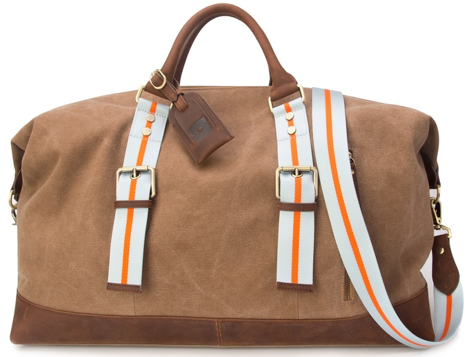 Genuine leather/canvas mix bag