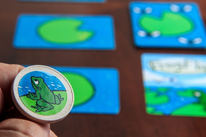 Identify the target Lily Pad and take aim! The number of bugs on the Bug Score Cards represent the number of points earned and the target Lilypad for that turn.