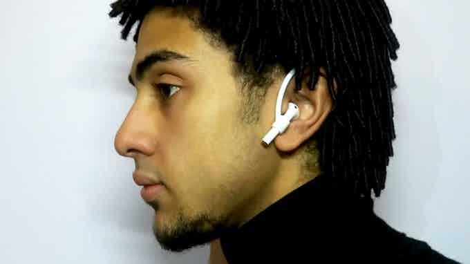 AirHooks being worn with AirPods