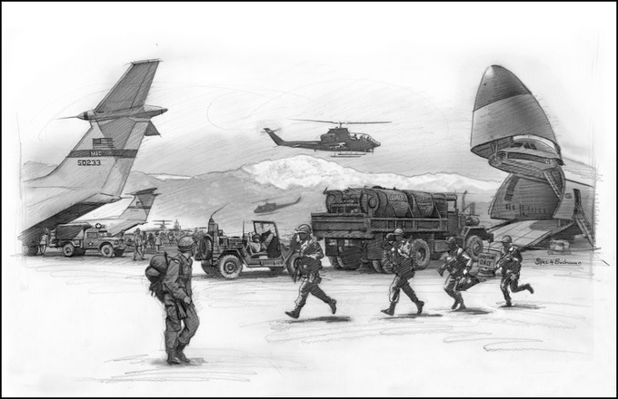 On-site graphite drawing of U.S. Army deployment, October 1974