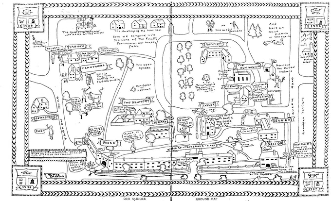 A 1920's hand drawn map of the campus.