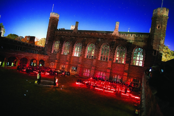 The Courtyard illuminates magically in the evening hours.