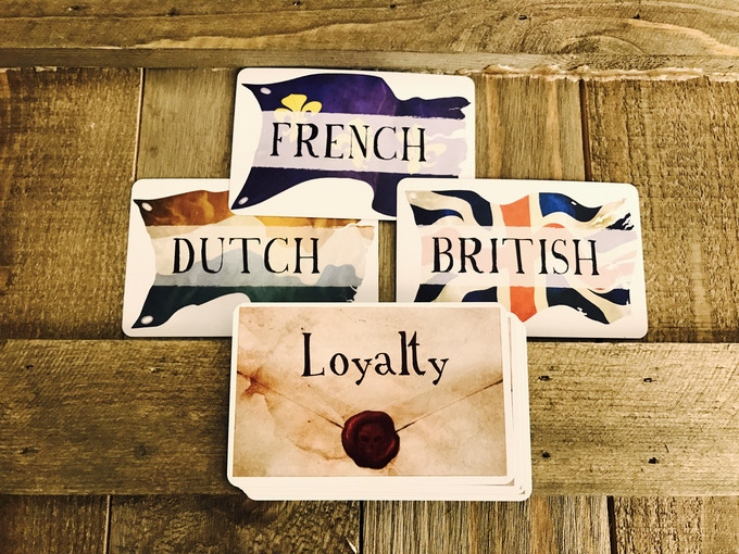 Each player has a secret loyalty: British, Dutch, or French. But be careful who you trust; someone claiming to share your loyalty may stab you in the back and steal your hard-earned treasure.