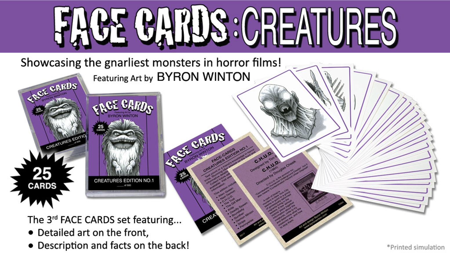 25 Trading Card Set. Artistic renditions of the gnarliest creatures in horror films.