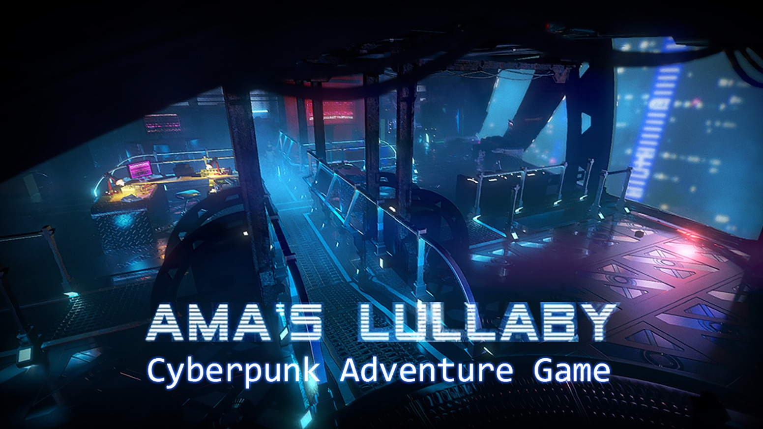 Ama's Lullaby is an adventure game in the style of Westwood's Blade Runner (1997), featuring a command-line based hacking system.