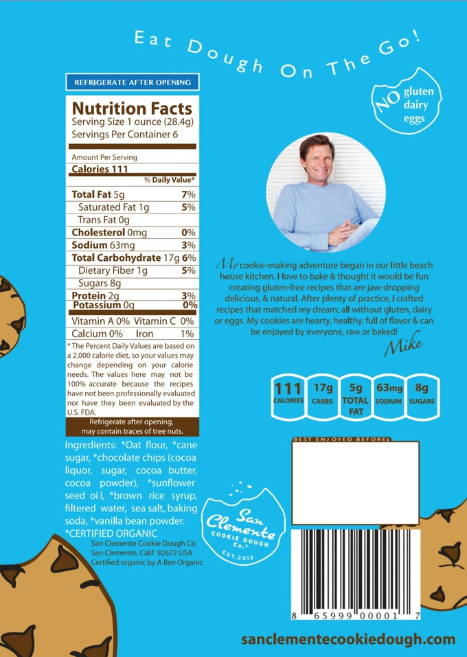 Packaging back panel with the nutritional facts.