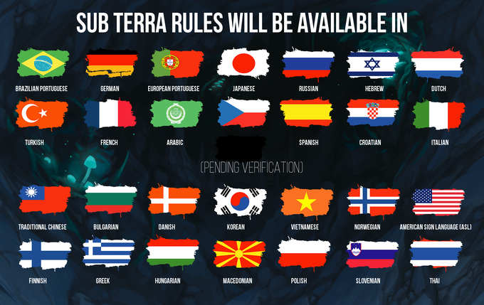 If you're able to translate the Sub Terra rulebooks into a language other than those shown above, let us know on contact@itbboardgames.com