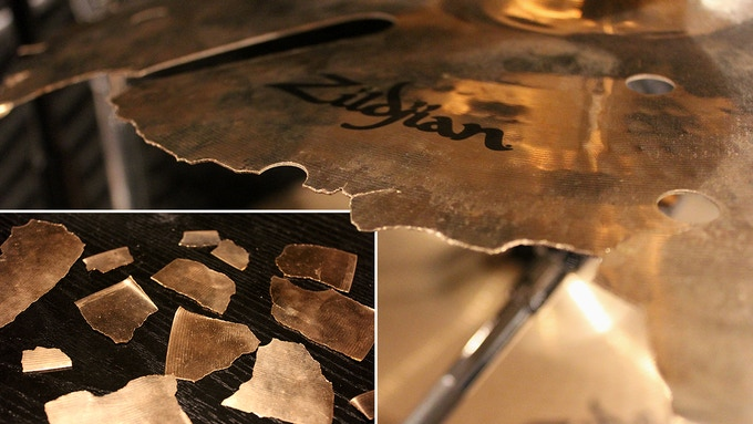 David's broken Zildjian cymbal signed by the band ***SPECIAL BONUS: Broken pieces will also be included with some other rewards!!***