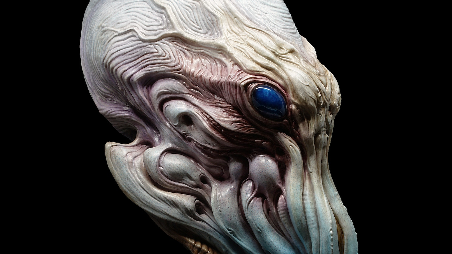 Reimagination of Cthulhu presented as a painted sculpture by artist Dominic Qwek