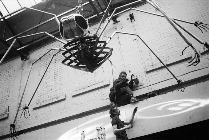 Rigging Mutoid Waste's mechanical spider at The Hacienda Manchester 94