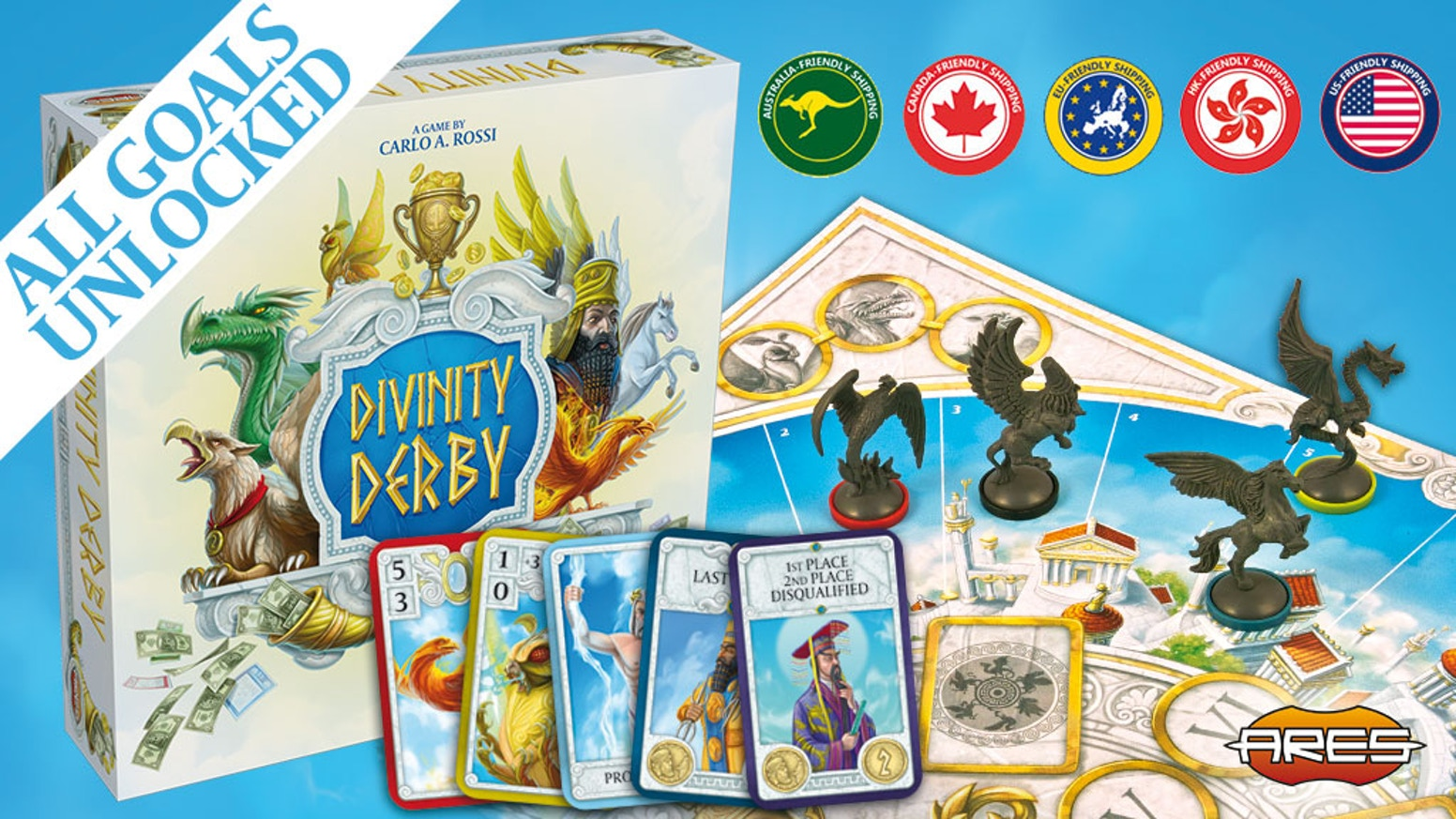 A party on Mount Olympus turns into a crazy race of legendary creatures. An easy and fun boardgame, rich in strategy and interaction.