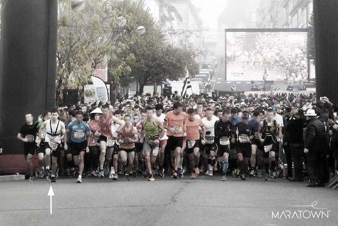 Maratown's founder Fabien Rosier running a half marathon with Maratown dress shoes, in 1h48min.