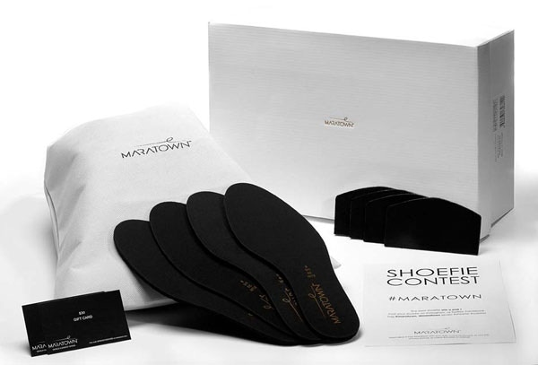In each shoe box we include volume adjusters and heel liners to use if your MARATOWNs fit a little too large or long.