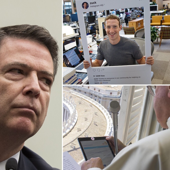 The FBI Director, Mark Zuckerberg and the Pope all cover their cameras.