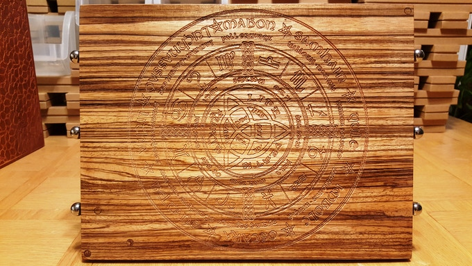 Zebrawood with Celtic calendar engraving pre-finish