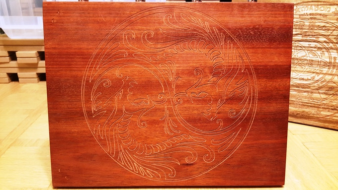 Bloodwood with Yin/Yang Dragon pre-finish