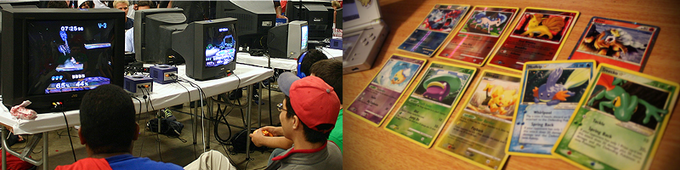 Smash Bros tournaments on the Gamecube and Pokemon card tournaments! Now, Where's that Charizard?