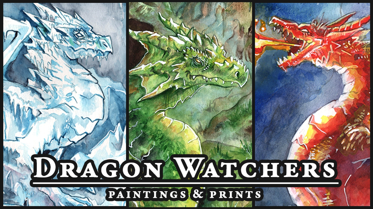 18 Dragons in detailed watercolor including Arctic, Jungle, and Cave Dragons. Own the originals, prints, or both!