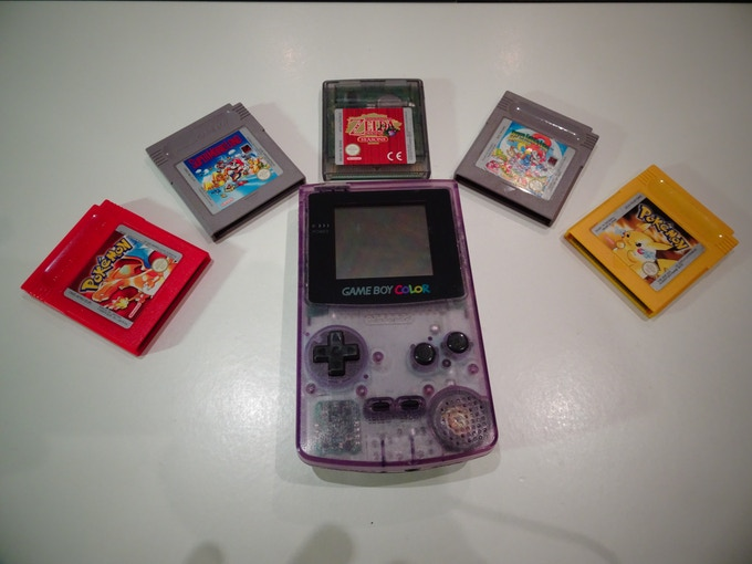 A Game Boy Colour with a variety of retro games!