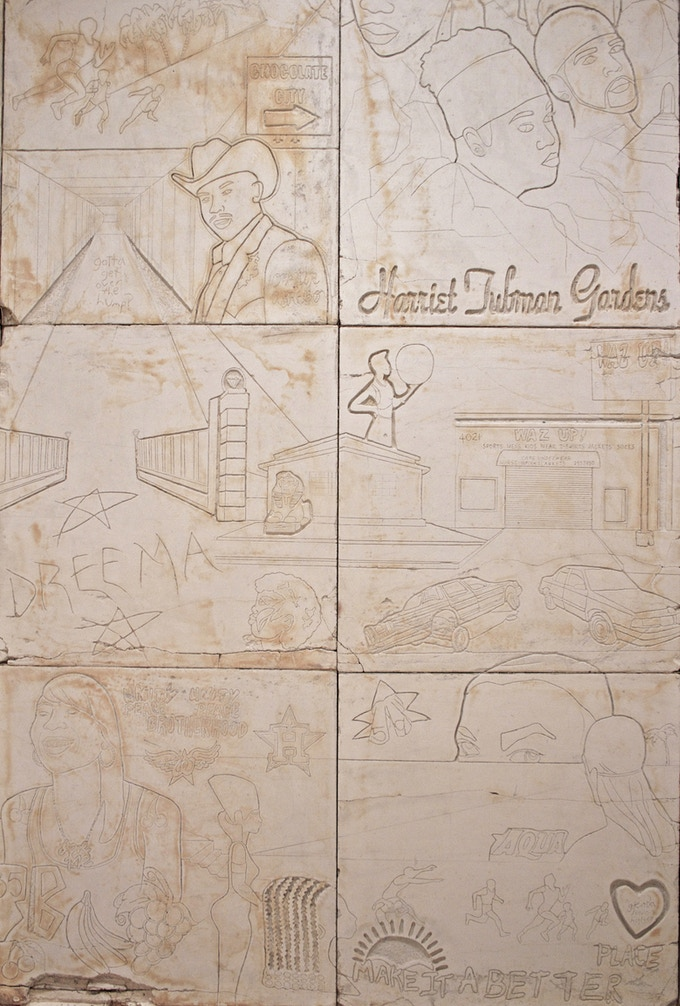 Reward $5000.00 : Example of 4 FT x 8 FT original hieroglyph panels from the structure.