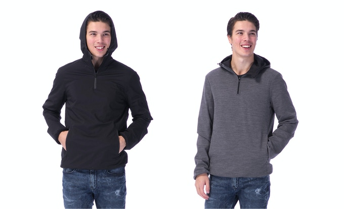 The 360 for him, nylon side and merino side