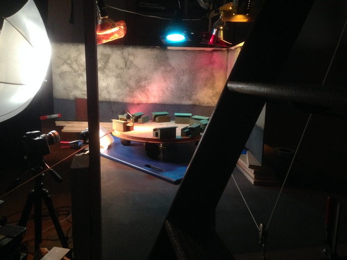 """Shooting the stop-motion sequence """"Spinning School Desks"""""""
