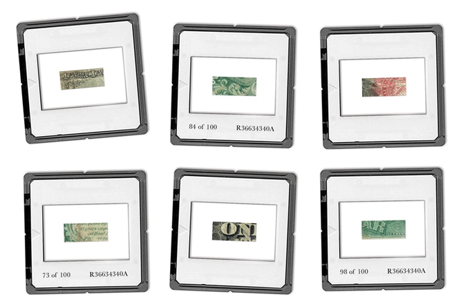 The pieces will be set within protective photo slide mounts, with the edition number and banknote serial number set upon the reverse.