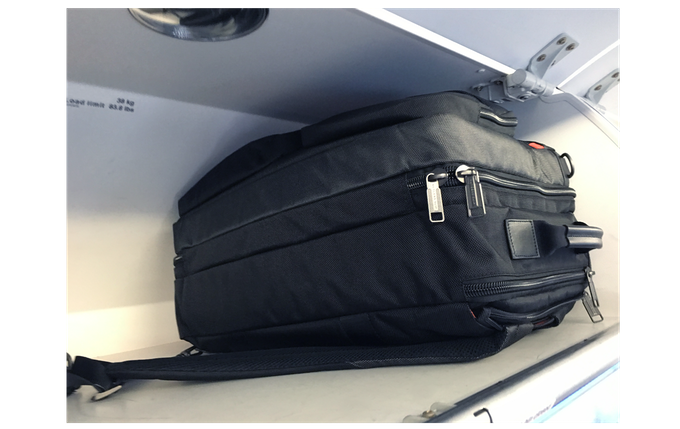 The JW Weekender fits perfectly inside the overhead bin.