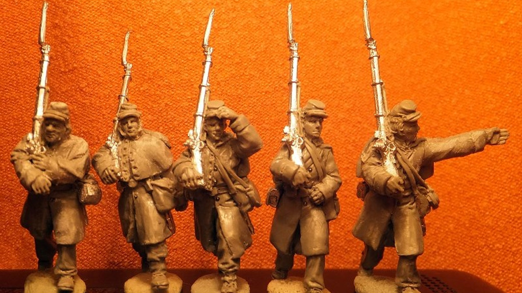 28mm Miniature Civil War Union Soldiers wearing great coats project video thumbnail