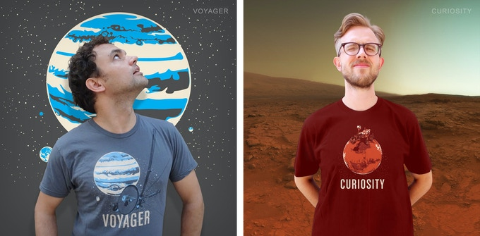 Voyager and Curiosity Robotic Spacecraft T-shirts
