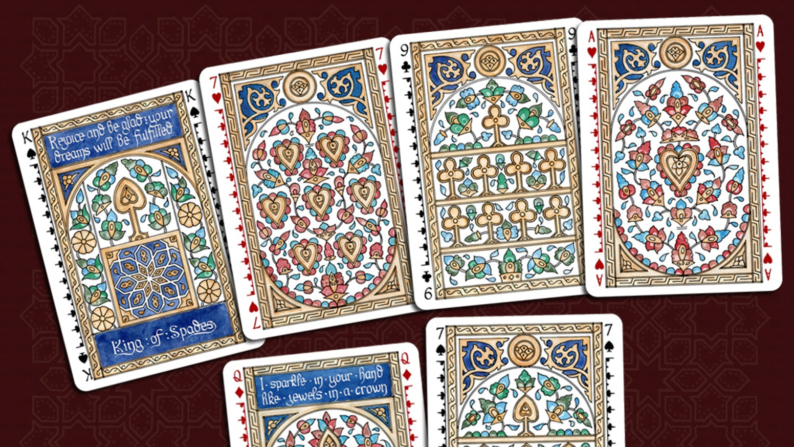 A deck of playing cards inspired by the ornately patterned medieval Mamluk cards, but based around the standard playing card suits.