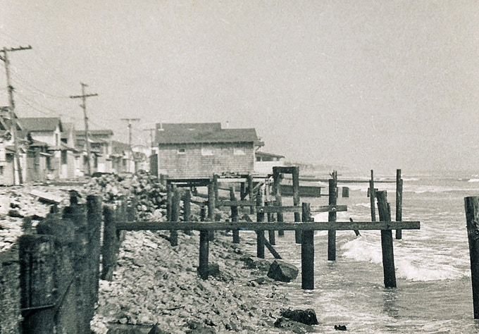 Surfside, California, in 1956, after the beach had washed out. (Photo by my mom)